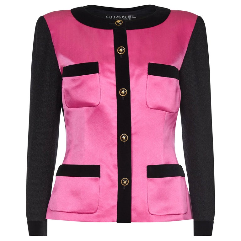 Chanel 1980s Boucle Black Wool and Pink Satin Jacket For Sale