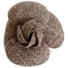 Chanel 1980s Brown Tweed Camellia Flower Brooch