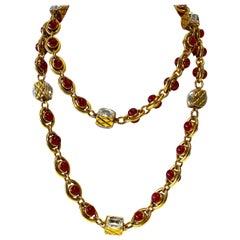 Chanel 1980's Byzantine Diamanté Gripoix Statement Necklace