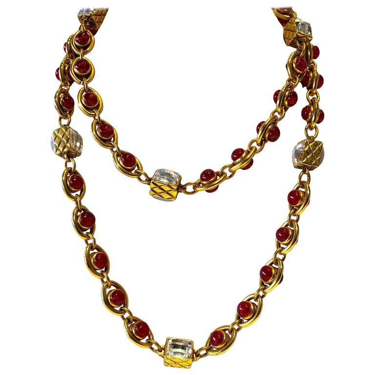 Chanel 1980's Byzantine Diamanté Gripoix Statement Necklace  1