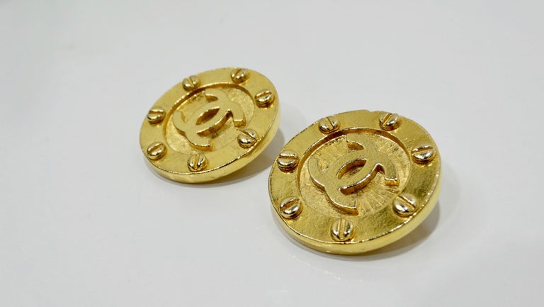 Chanel 1980s CC Medallion Clip-On Earrings For Sale 2