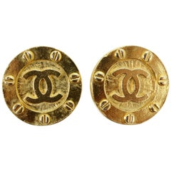 Chanel 1980s CC Medallion Clip-On Earrings