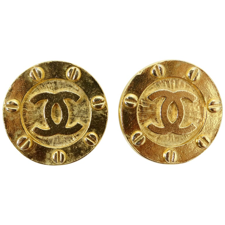 Chanel 1980s CC Medallion Clip-On Earrings For Sale