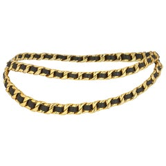 Chanel 1980s Classic Heavy Gold Tone and Black Leather Chain Belt