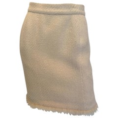Chanel 1980's Cream Colored Wool Tweed Skirt
