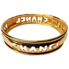 Chanel 1980s Cut Out Gold Tone Bangle