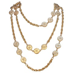 CHANEL 1980s Gilted metal chain necklace with CC coins