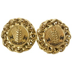 Chanel 1980s Gold Plated Clip On Earrings