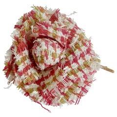 Chanel 1980s Houndstooth Tweed Camellia Flower Brooch