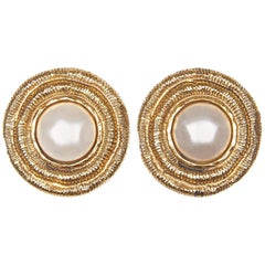 Chanel 1980s Large Gold Gilt Pearl Earrings