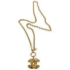 Chanel 1980s Long CC Logo Pendant Necklace