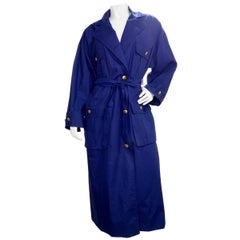 Chanel 1980s Navy Blue Trench Coat