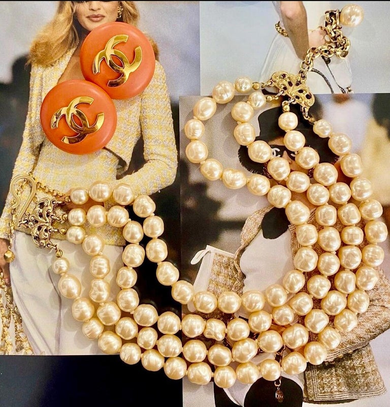 Add some color to your look with these adorable Chanel earrings! Designed by Victoire de Castellane from 1986 to 1989, these circular orange earrings from Chanel's 24th collection feature a gold CC with clip-on closures. Stamped Chanel 24 Made in