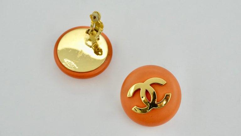 Women's or Men's Chanel 1980s Orange CC Earrings