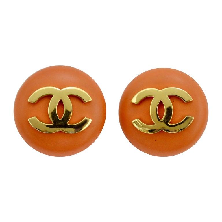 Chanel 1980s Orange CC Earrings