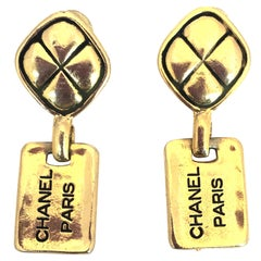 Chanel 1980's Paris Stamped Gold Tone Drop Earrings