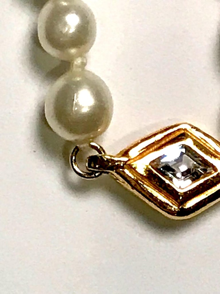 Chanel 1980s Pearl with Gold and Rhinestone Accent Necklace For Sale 6