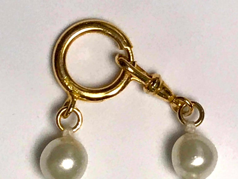Chanel 1980s Pearl with Gold and Rhinestone Accent Necklace For Sale 3