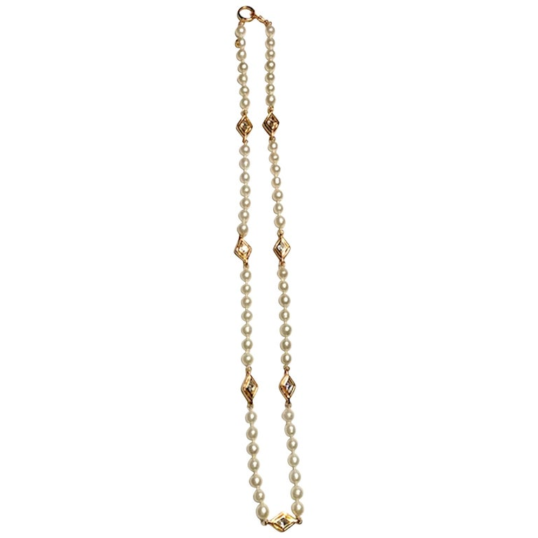Chanel 1980s Pearl with Gold and Rhinestone Accent Necklace For Sale