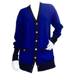 Chanel 1980s Royal Blue Cashmere Cardigan