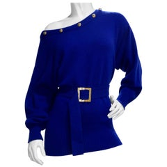 Chanel 1980s Royal Blue Cashmere Sweater