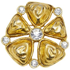 Chanel 1980s Statement Goldtone Flower Brooch With Large Rhinestone