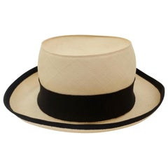 Chanel 1980s Straw Boater Hat