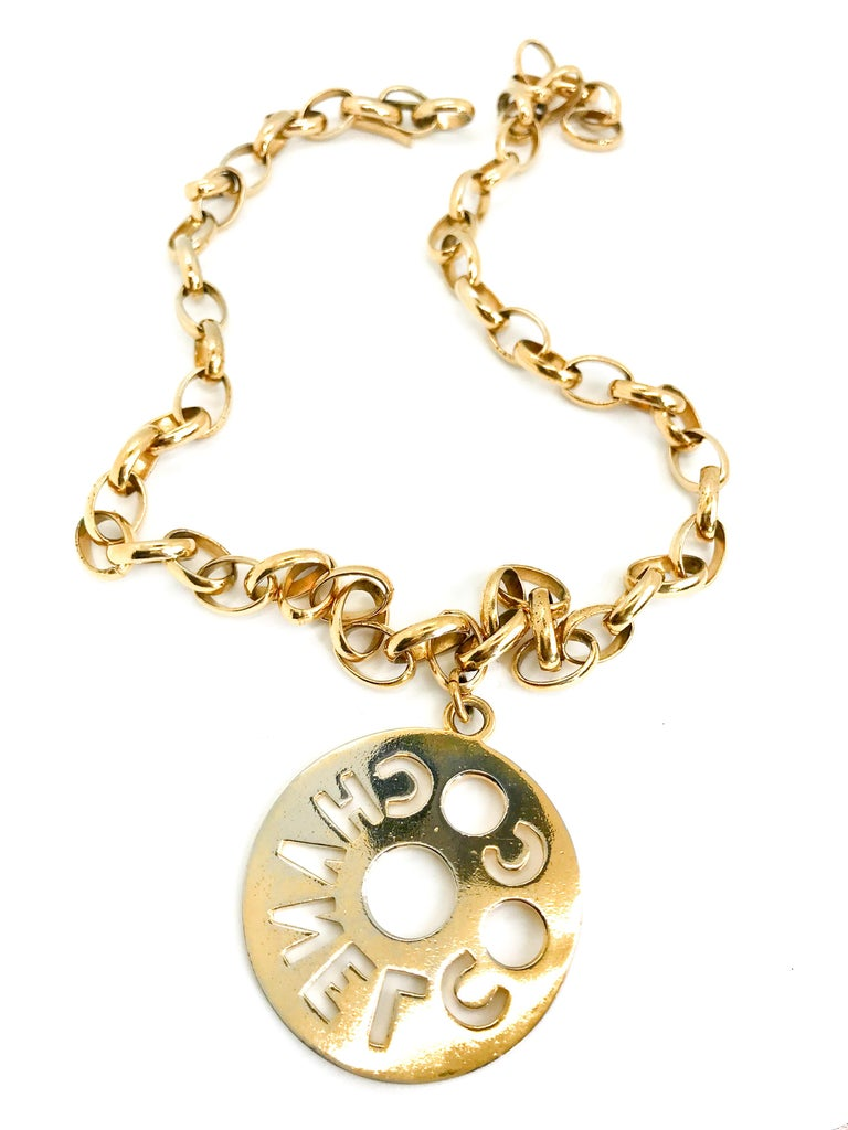 Chanel 1980s Vintage Gold Plated Pendant Necklace / Belt For Sale 2