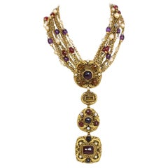 Chanel 1984 Vintage Gold Multi-Strand Gripoix & Pearl Long Convertible Necklace