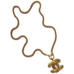 Chanel 1986 Large Quilt CC Pendant Necklace