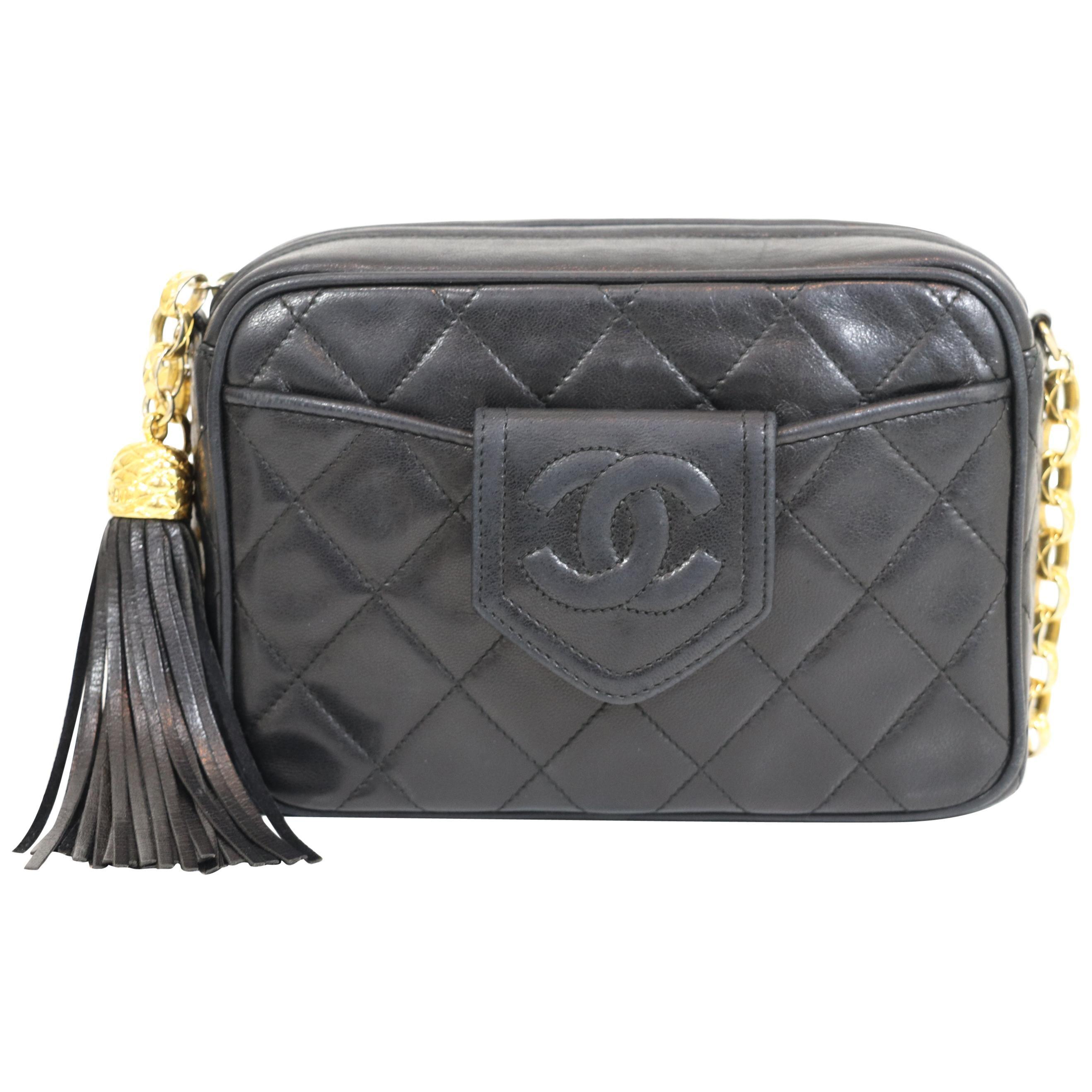 Chanel 1989-1991 Vintage Black Camera Bag w/Tassel