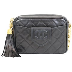 Chanel 1989-1991 Vintage Black Camera Bag w/Tassel