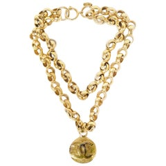 Chanel 1989 Goldtone Two-Strand Chainlink CC Short Necklace