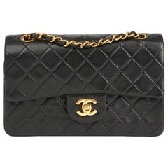 Chanel 1990 Black Quilted Lambskin Vintage Small Classic Double Flap Bag