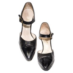Chanel 1990's Black Patent Leather Cap Toe Heels