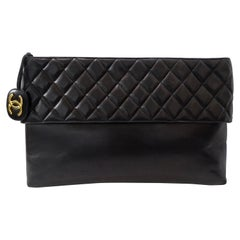 Chanel 1990s Black Quilted Jumbo Lambskin Clutch