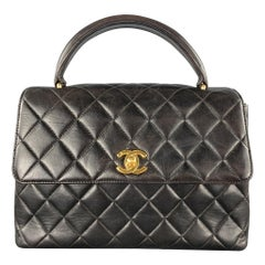 CHANEL 1990's Black Quilted Leather COCO HANDLE CC Handbag Bag