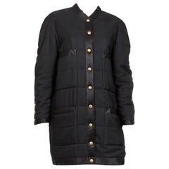 Chanel 1990s Black Silk Padded Long Coat
