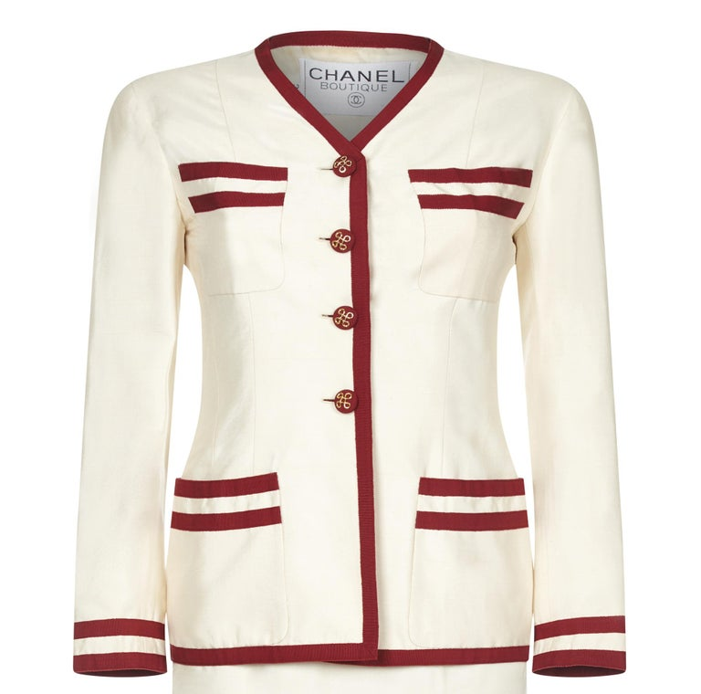 White Chanel 1990s Cream Silk Suit with Red Ribbon Grosgrain Trim For Sale