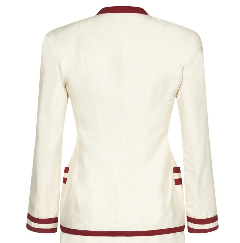 Chanel 1990s Cream Silk Suit with Red Ribbon Grosgrain Trim In Excellent Condition For Sale In London, GB