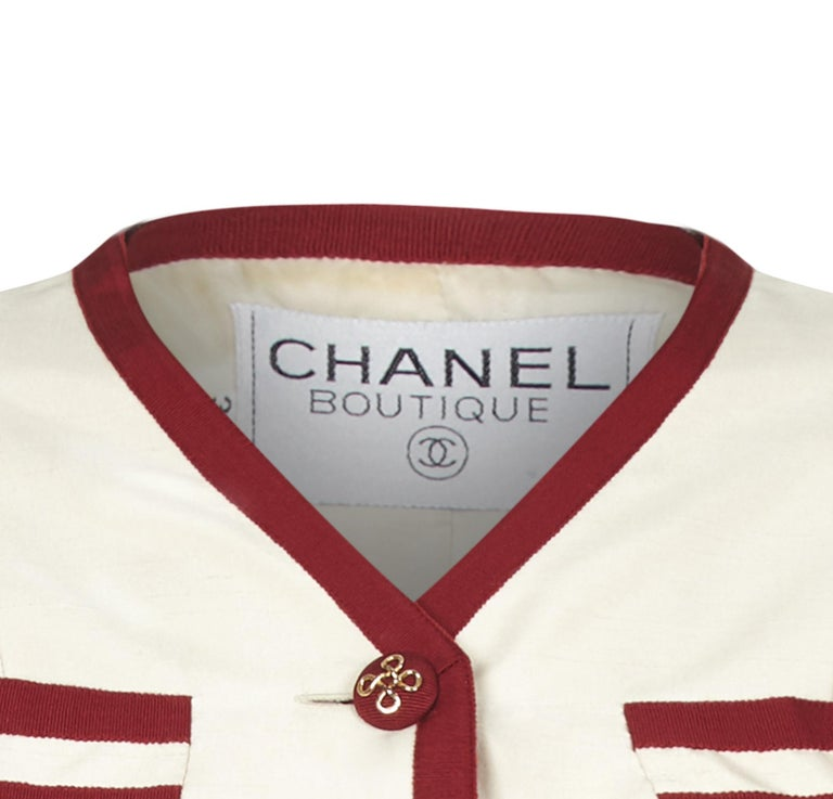 Chanel 1990s Cream Silk Suit with Red Ribbon Grosgrain Trim For Sale 1