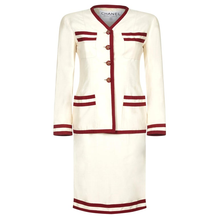 Chanel 1990s Cream Silk Suit with Red Ribbon Grosgrain Trim For Sale
