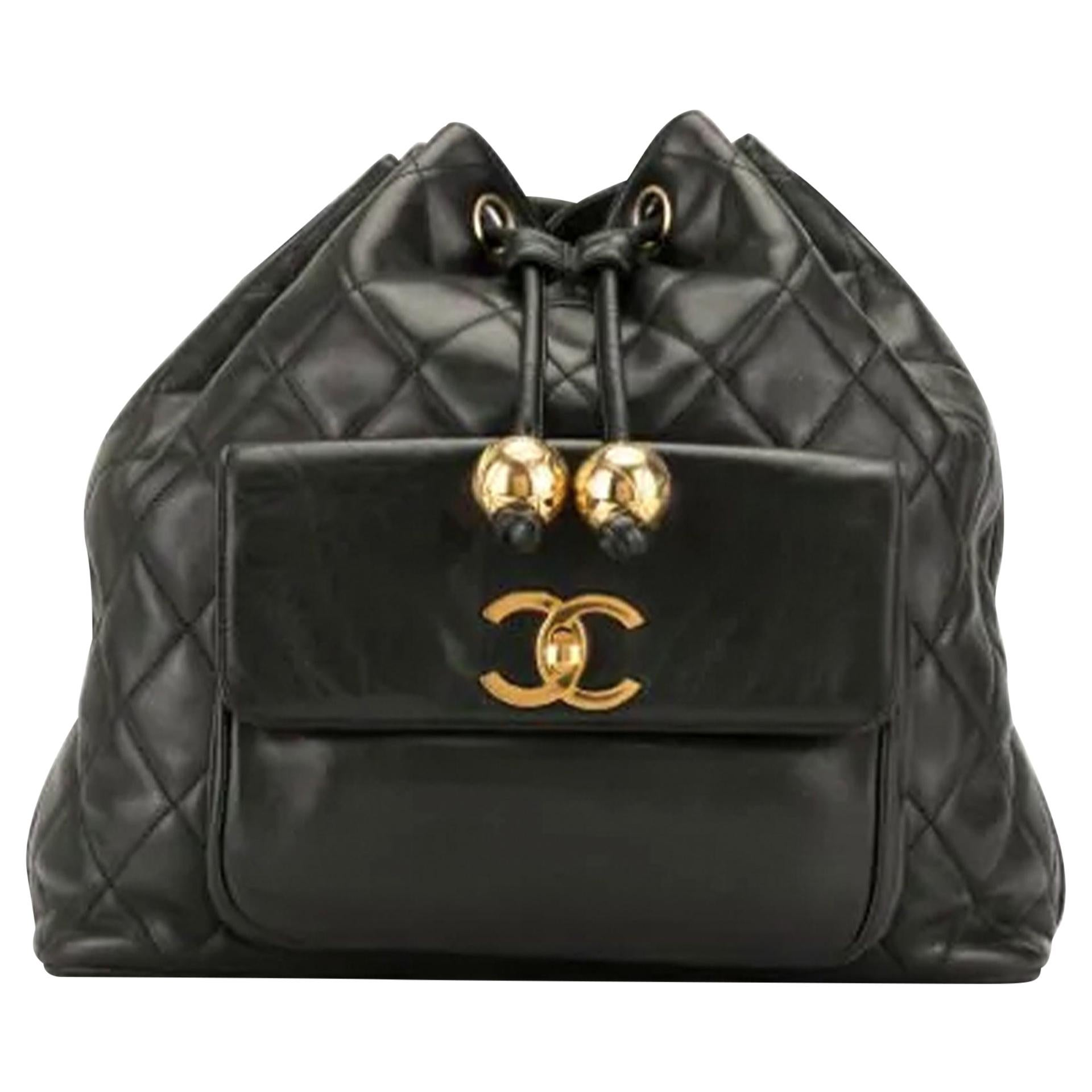 Chanel 1990's Vintage Diamond Quilted Drawstring Bucket Backpack Rucksack