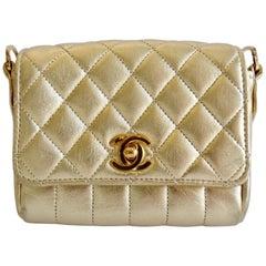 Chanel 1990s Gold Metallic Mini Single Flap