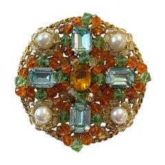 Chanel 1990s Vintage Blue/Orange Stone Brooch/Pendant w/ Faux Pearls