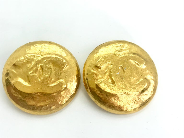 Chanel 1990s Vintage Clip on Earrings  Approx 2.5 inches across.