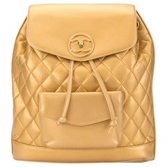Chanel 1990s Vintage Rare Rucksack Gold Lambskin Leather Backpack