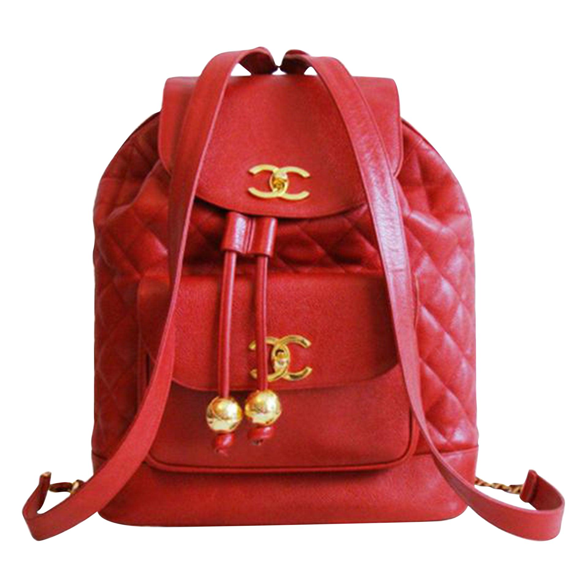 Chanel 90s Extra Large Jumbo Ultra Rare Vintage Red Caviar Leather Backpack