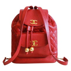 Chanel 1991 Extra Large Jumbo Rare Vintage Red Caviar Leather Backpack