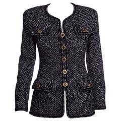 CHANEL 1993s Black & White Tweed Jacket SZ 38